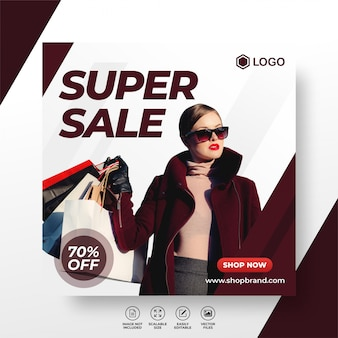 Fashion sale social media post template or square banner super promo