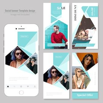 엽서 템플릿-패션 및 판매 소셜 미디어 프리미엄 벡터