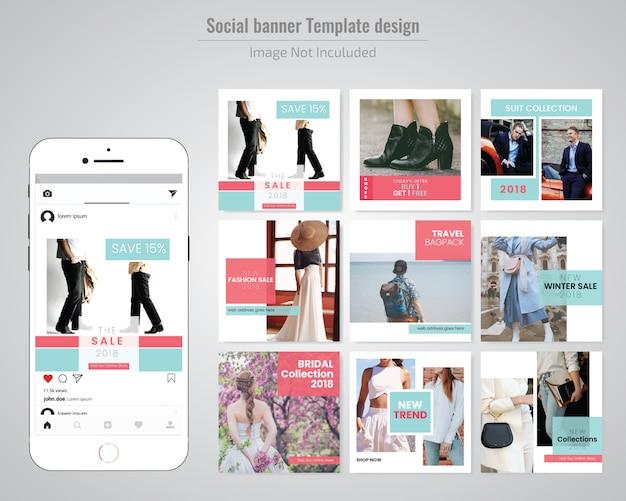 ファッションセールソーシャルメディア投稿テンプレート