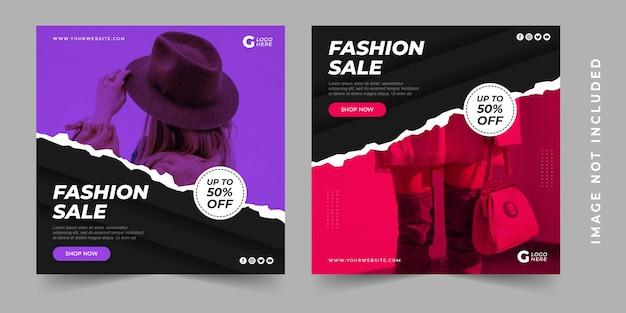 Fashion sale social media social media post feed template