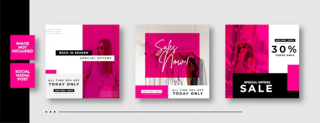 Fashion sale social media square banner template