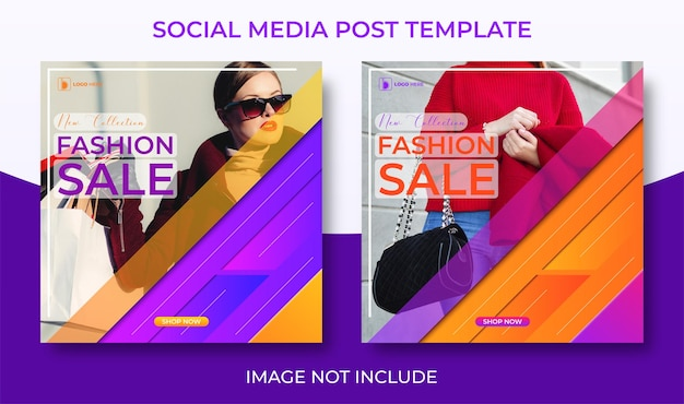 Fashion sale social media template with collage photo