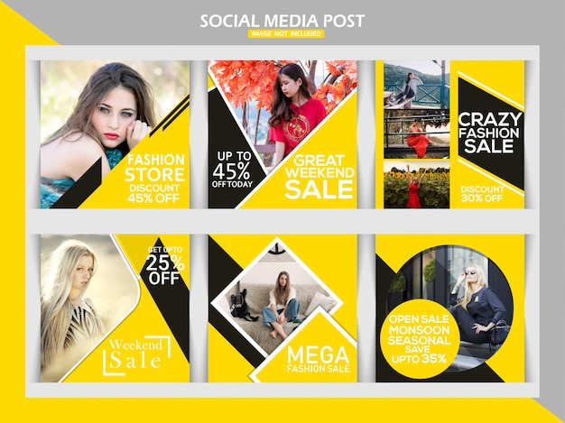 Fashion sale square banner or instagram post template set