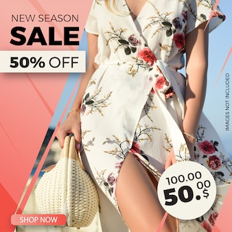 Fashion sale square banner template for instagram post