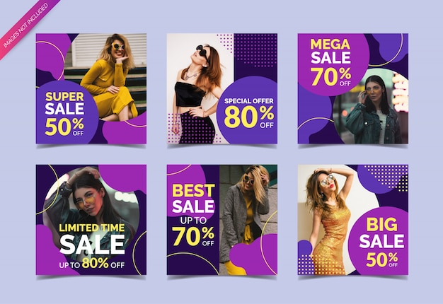 Fashion sale square banners for social media