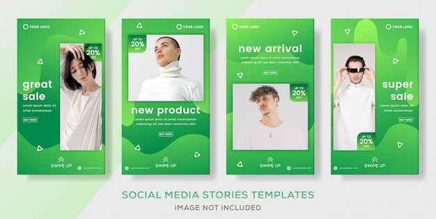 Fashion sale stories banner template with gradient green color