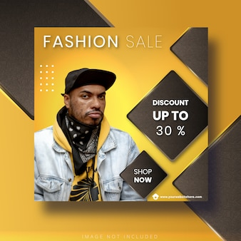 Fashion sale template for social media instagram post and banner