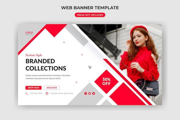 Веб-баннер продаж моды и обложка веб-сайта или шаблон сообщения в социальных сетях