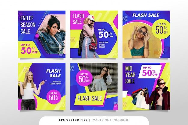 Баннер продаж моды для сбора сообщений в социальных сетях
