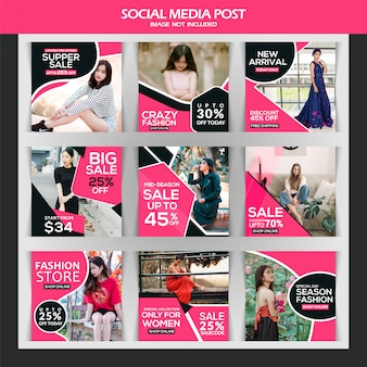 패션 판매 인스 타 그램 게시물 또는 사각형 배너 서식 파일
