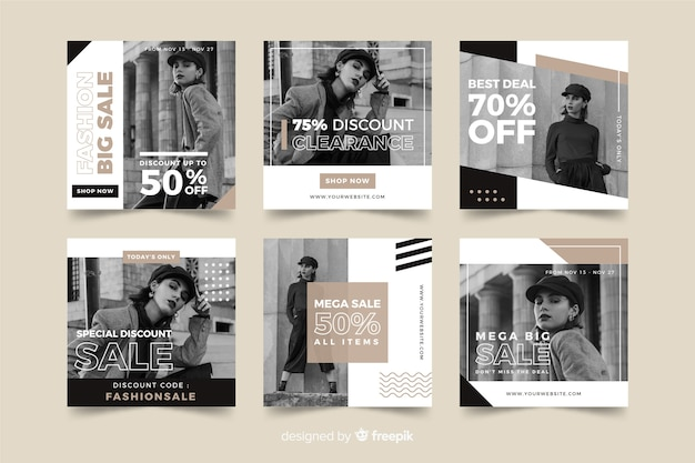 Fashion sales social media banner collectio
