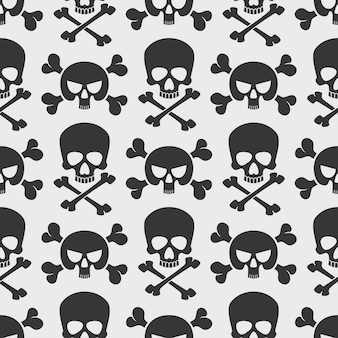 Fashion seamless pattern background with skulls and cross bones.
