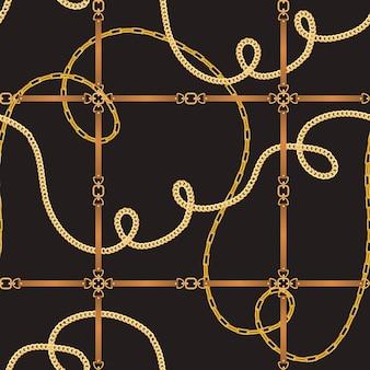 ベルトとゴールデンチェーンのファッションシームレスパターン。チェーン、メタリックアクセサリー、壁紙、プリント用ジュエリーのファブリックデザインの背景。ベクトルイラスト