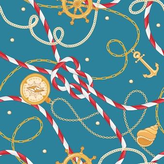 ファブリックデザインのためのゴールデンチェーンとアンカーを備えたファッションシームレスパターン。ロープ、結び目、航海の要素を持つ海洋の背景。ベクトルイラスト