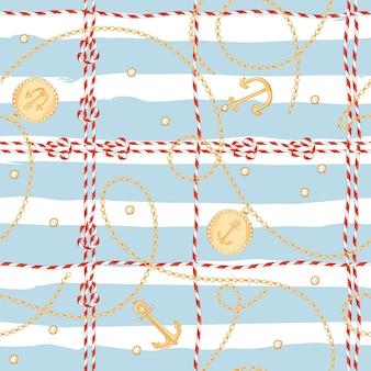 ファブリックデザインのためのゴールデンチェーンとアンカーを備えたファッションシームレスパターン。ロープ、結び目、旗、航海の要素を持つ海洋の背景。ベクトルイラスト