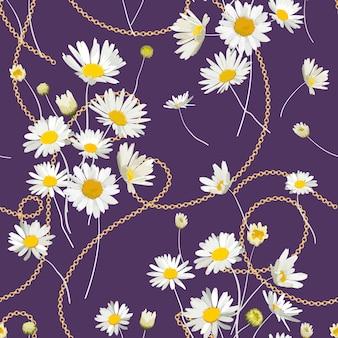 ゴールデンチェーンとデイジーの花とファッションのシームレスなパターン。カモミールとジュエリーの要素を備えたファブリックテキスタイルフローラルプリント。ベクトルイラスト