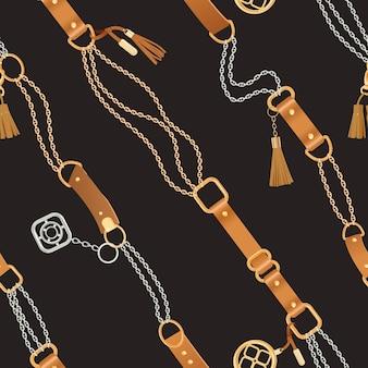 ゴールデンチェーンとストラップのファッションシームレスパターン。チェーン、ブレード、ジュエリーアクセサリーファブリックデザイン、テキスタイル、壁紙の背景。ベクトルイラスト