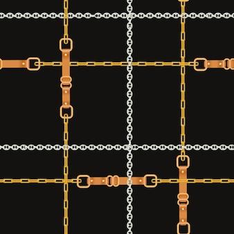 ゴールデンチェーンとストラップのファッションシームレスパターン。チェーン、ブレード、ジュエリーの要素ファブリックデザイン、テキスタイル、壁紙の背景。ベクトルイラスト
