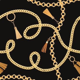 ゴールデンチェーンとファッションのシームレスなパターン。チェーン、メタリックアクセサリー、壁紙、プリント用ジュエリーのファブリックデザインの背景。ベクトルイラスト