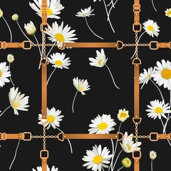 ゴールデンチェーン、ストラップ、デイジーの花とファッションのシームレスなパターン。カモミールとジュエリーの要素を備えたファブリックテキスタイルフローラルプリント。ベクトルイラスト