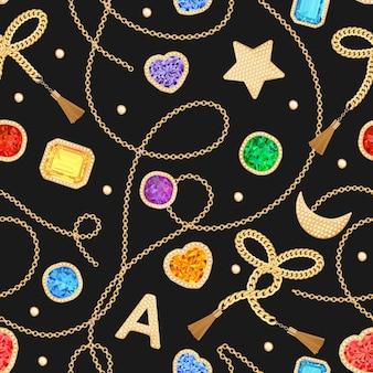 ゴールデンチェーン、ストラップ、宝石のファッションシームレスパターン。テキスタイル、プリント用のチェーン、宝石、ジュエリーのファブリックデザインの背景。ベクトルイラスト