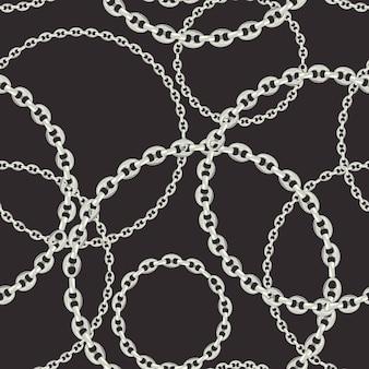 シルバーチェーンのファッションシームレスパターン。チェーン、メタリックアクセサリー、壁紙、プリント用ジュエリーのファブリックデザインの背景。ベクトルイラスト