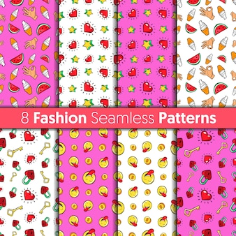 Fashion seamless patterns set. hearts, hands, money, stars and sweets  fashion backgrounds in retro comic style