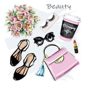 Fashion set with bag paper coffee cup lipstick shoes sunglasses flowers eyelashes