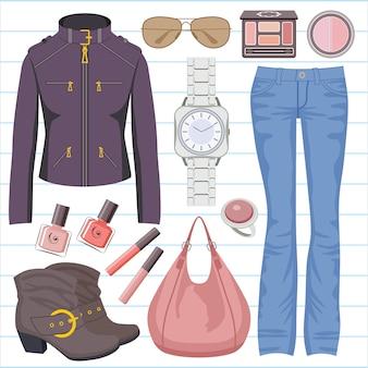 ジーンズとジャケットをセットしたファッション