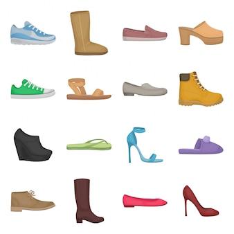 Fashion shoe cartoon set icon
