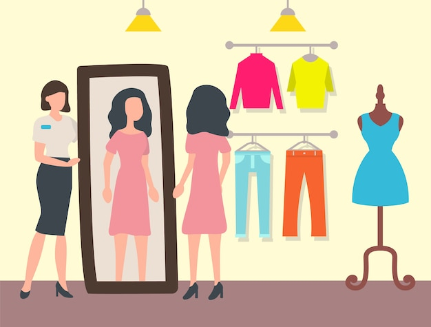 Fashion shop or store, customer and shop assistant