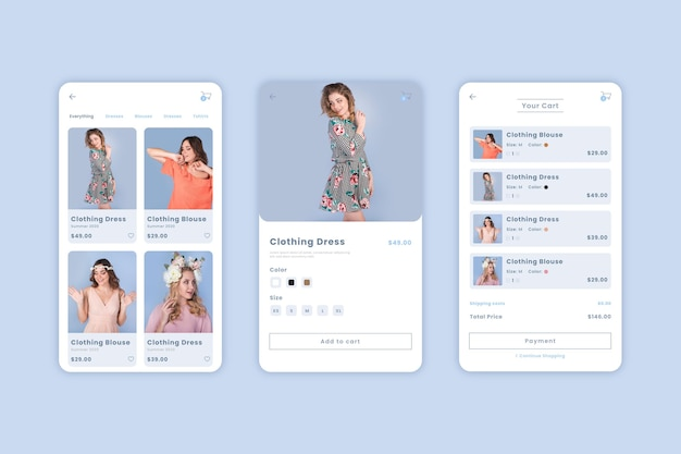 ファッションショッピングアプリのインターフェース