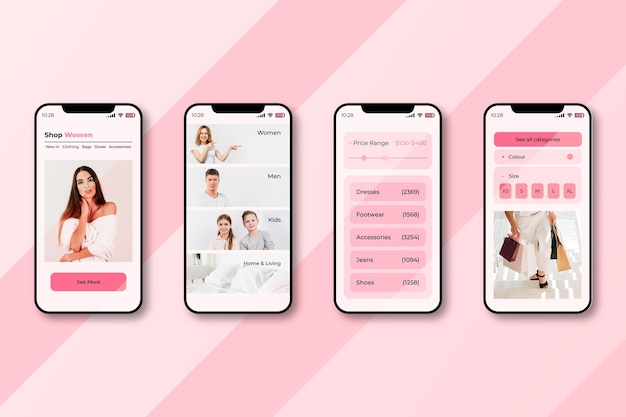 Fashion shopping app interface