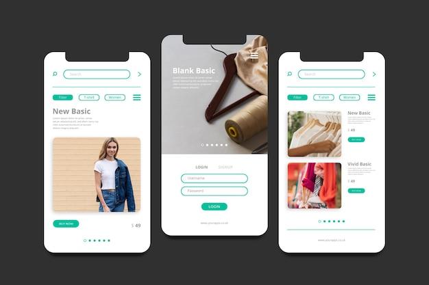 Экраны приложений для модных покупок
