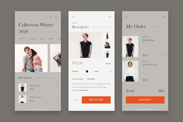 Fashion shopping app template collection