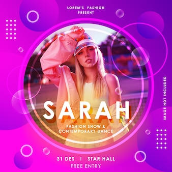 Fashion show and event square poster or flyer template