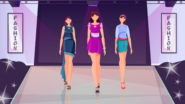 Модный показ плоской иллюстрации с тремя молодыми стройными девушками в модной одежде, идущими по подиуму