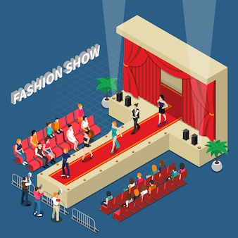 Fashion show isometric composition