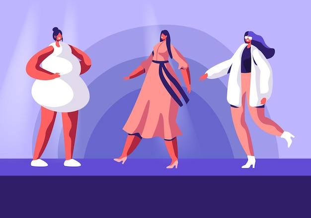 Показ мод с участием топ-моделей на подиуме. мультфильм плоский рисунок
