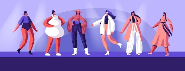 Показ мод с участием топ-моделей в модной одежде от кутюр и демонстрации ее на подиуме. мультфильм плоский рисунок