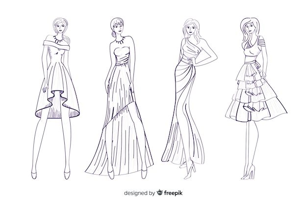 Fashion sketch collection with models