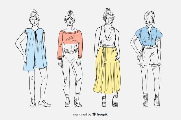 모델 패션 스케치 모음