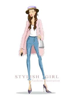 ファッションのスケッチ。ファッションの服を着て、帽子と長い髪を持つ女性を描きます。図。