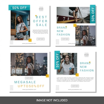 Fashion social media banner template collection