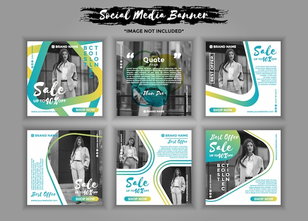 Fashion social media banner template pack