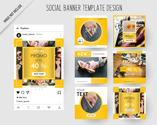 Fashion social media banners for digital marketing