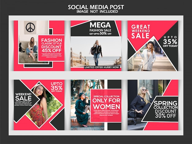 Fashion social media exclusive template banner set