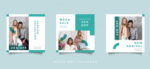 Fashion social media feed post promotion design collection