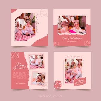 Fashion social media instagram template with watercolor bundle post
