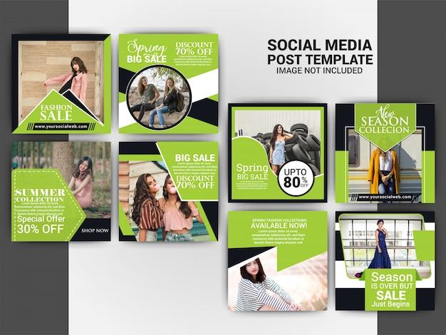 Fashion social media marketing post template set